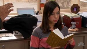 Parks and Recreation April Ludgate reading a book