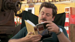Parks and Recreation Ron Swanson reading a book