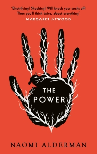 cover of the Power by Naomi Alderman. A black palm on an orange background. White veins courses through the palms.
